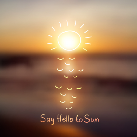 say hello: South China Sea, seascape with sunrise, vector blurred background Illustration