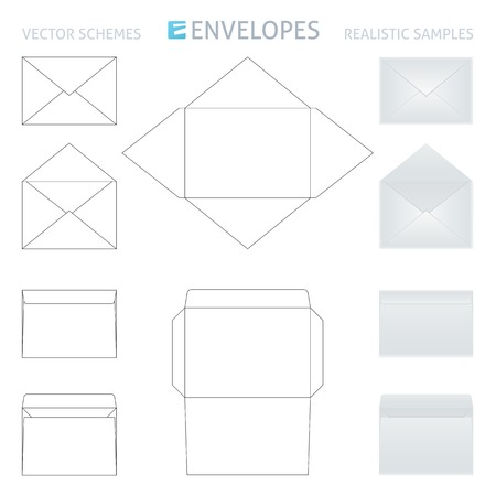 assemblage: vector envelopes set, schemes and realistic samples in gray color