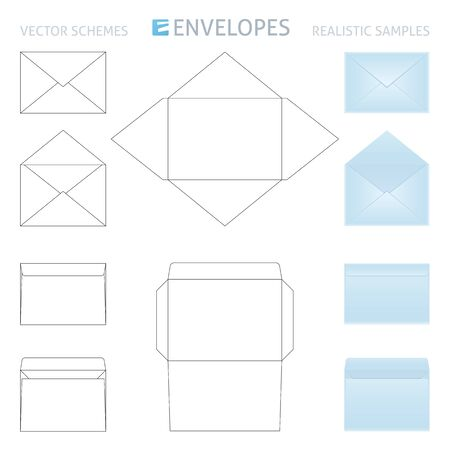 two stroke: vector envelopes set, schemes and realistic samples in blue color