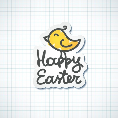 happy easter handwritten text with hand drawn bird on checked paper Vector