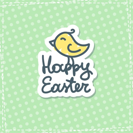 chiken: happy easter handwritten text with hand drawn bird on green fabric Illustration