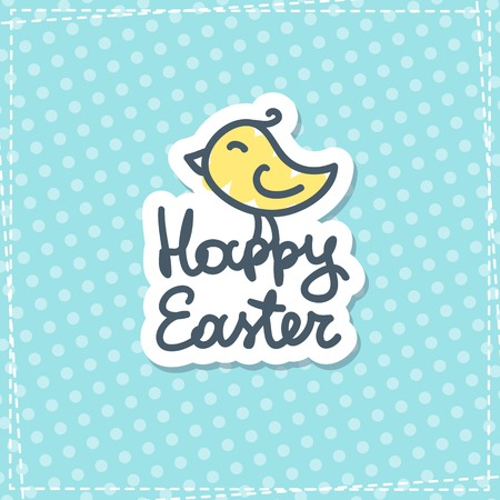 happy easter handwritten text with hand drawn bird on blue fabric Vector