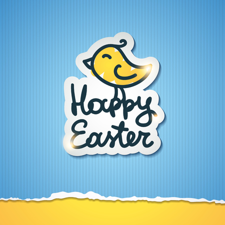 happy easter handwritten text with hand drawn bird on orange background Vector