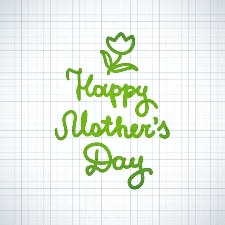checked: happy mothers day, vector handwritten text on checked paper page Illustration