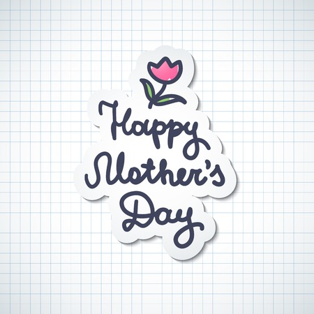 happy mothers day, vector handwritten text on checked paper page Vector