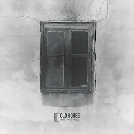 decrepit: vector background of old house, grunge window and wall in grayscale