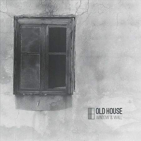 vector background of old house, grunge window and wall in grayscale
