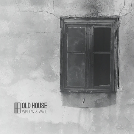 ruined house: vector background of old house, grunge window and wall in grayscale