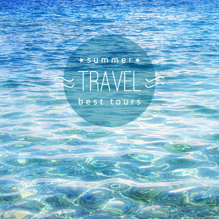 vector realistic water texture with sample text, travel background Stock Illustratie