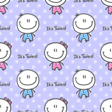 its twins, vector seamless pattern of hand drawn babies with text