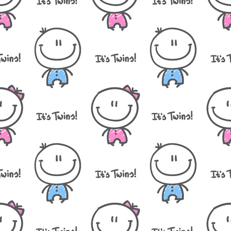 twin sister: its twins, vector seamless pattern of hand drawn babies with text