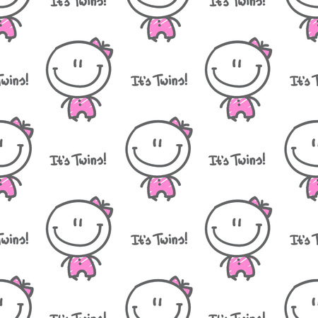 its twins, vector seamless pattern of hand drawn babies with text Vector