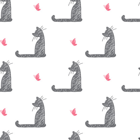 vector seamless pattern of hand drawn cats and butterflies Vector