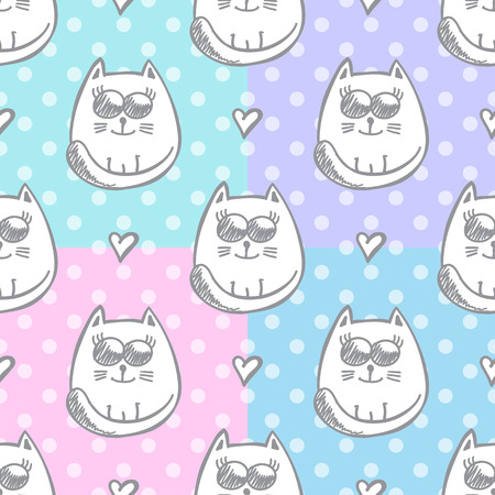 set of vector seamless patterns of hand drawn cats and hearts Vector
