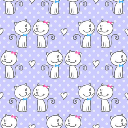 polka dots background: vector seamless pattern of hand drawn cats and hearts on polka dots background