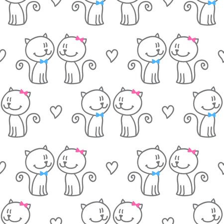 vector seamless pattern of hand drawn cats and hearts Illustration