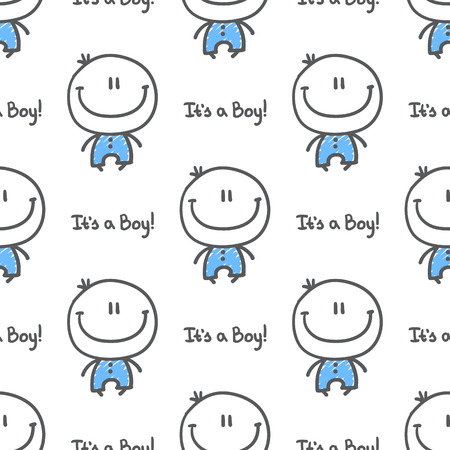 its a boy: its a boy, vector hand drawn seamless pattern of baby boy with text