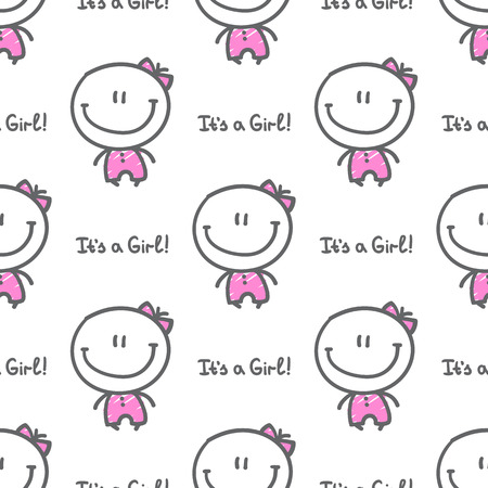 its a girl: its a girl, vector hand drawn seamless pattern of baby girl with text