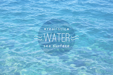 vector realistic water texture with sample text, light blue color