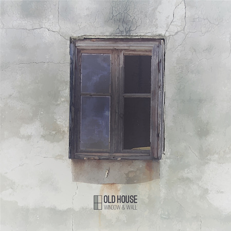 broken house: vector background of old house, grunge window and wall