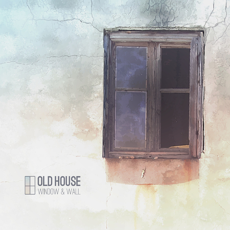 ruined house: vector background of old house, grunge window and wall