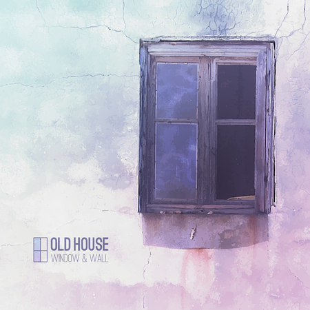 decrepit: vector background of old house, grunge window and wall