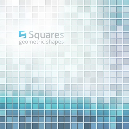 vector abstract background with squares and logo of letter S, blue color Vector