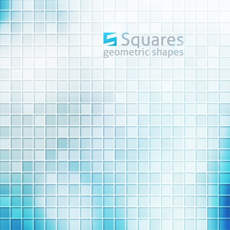 vector abstract background with squares and  of letter S, blue color Vector