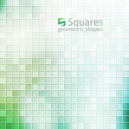 vector abstract background with squares and  of letter S, green color Vector