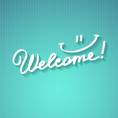 welcome, handwritten text with shadow on striped cardboard