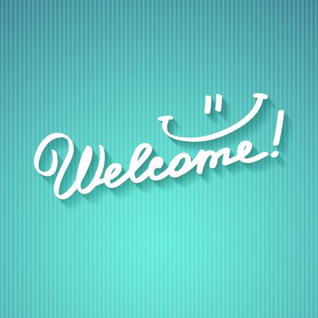 Willkommen, handgeschriebenen Text mit Schatten auf gestreiften Karton Standard-Bild - 38484694