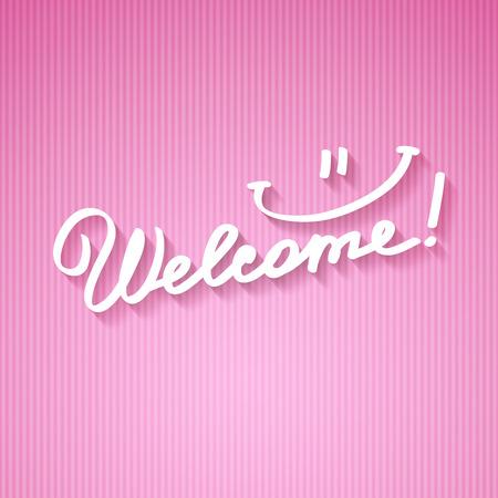 vítejte: přivítání, ručně psaný text s stín na pruhované kartonu