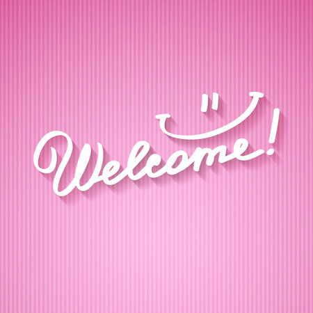 light pink: welcome, handwritten text with shadow on striped cardboard