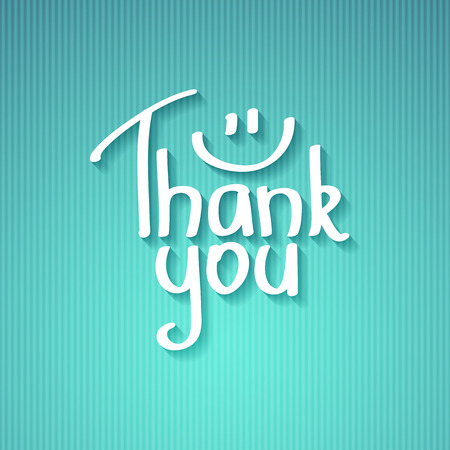 thank you, handwritten text with shadow on striped cardboard