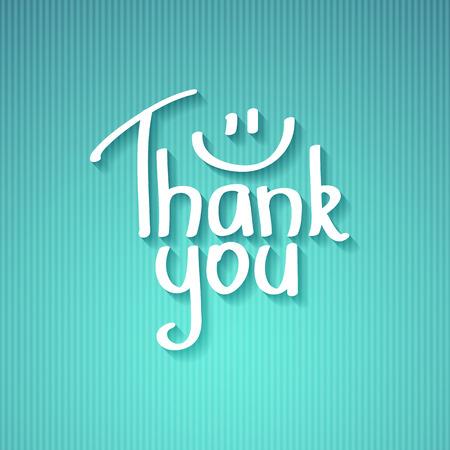 merci: je vous remercie, texte manuscrit avec l'ombre sur carton ray� Illustration