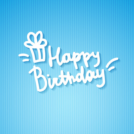 happy birthday, handwritten text and gift box on striped colored paper Vector