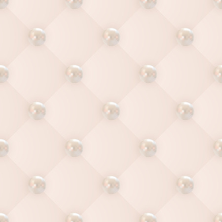 beige backgrounds: vector seamless pattern of realistic golden pink pearls