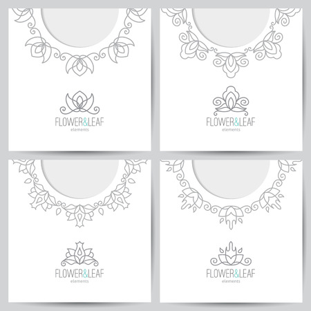 vector floral logo and ornament frames on white background Vector
