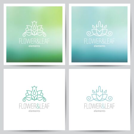 vector flower logo set on colored blurred backgrounds and on white Vector