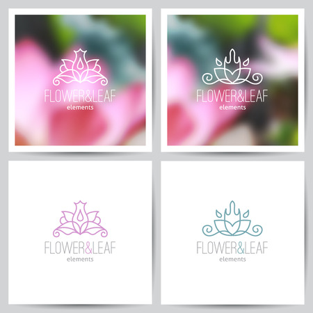 lotus leaf: vector flower logo set on blurred backgrounds of lotus and on white