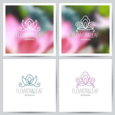 vector flower logo set on blurred backgrounds of lotus and on white