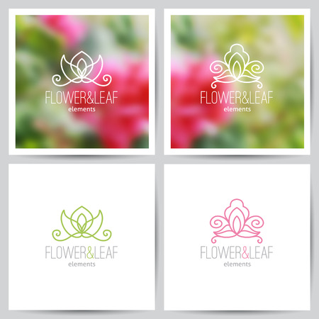 vector flower logo set on blurred floral backgrounds and on white Vector