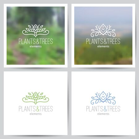 green swirl: logo set of nature and ecology theme, two blurred backgrounds of forest landscape and white paper pages