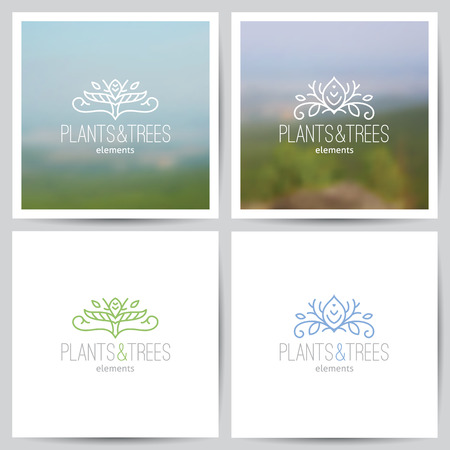eco logo: logo set of nature and ecology theme, two blurred backgrounds of landscape and white paper pages