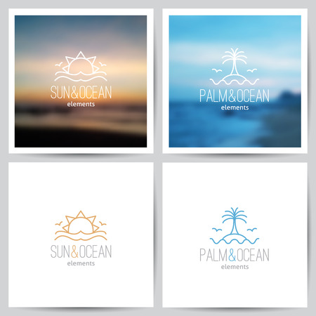 sunny beach: set of summer logo with sun, palm and sea