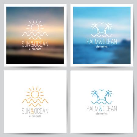logotipo turismo: conjunto de logo verano con el sol, palmeras y mar Vectores