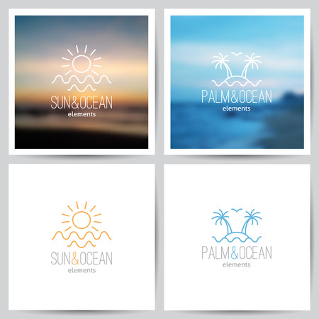 set van de zomer-logo met zon, palmbomen en de zee
