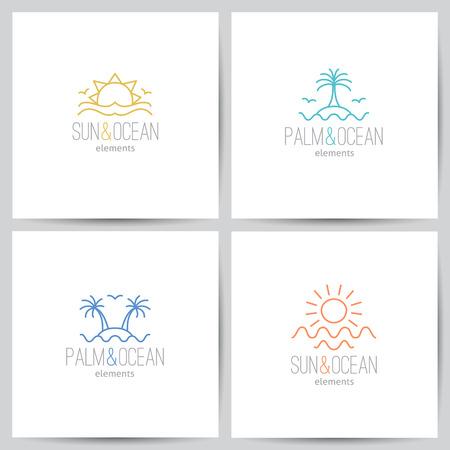 gaviota: conjunto de logo verano con el sol, palmeras y mar Vectores