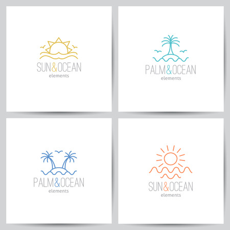sea green: set of summer logo with sun, palm and sea