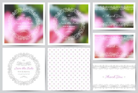 mono color: set of vector wedding invitations and cards with floral ornate Illustration